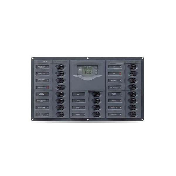 Tableau électrique 20 disjoncteurs unipolaires + contrôleur de batterie digital 10-35V Comptoir Nautique