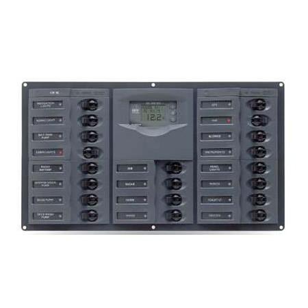 Tableau électrique 20 disjoncteurs unipolaires + contrôleur de batterie digital 10-35V