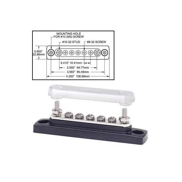 Bornier de connexion Mini Bus 7 plots 100A + couvercle Comptoir Nautique